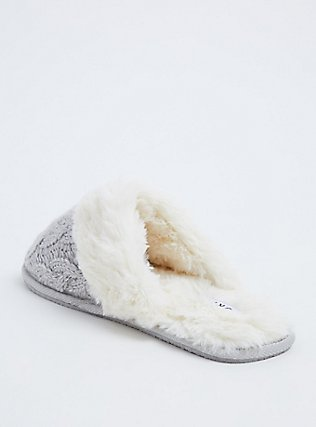 Grey Cable Knit Faux Fur Slipper (WW), GREY, alternate