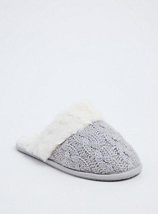 Grey Cable Knit Faux Fur Slipper (WW), GREY, hi-res