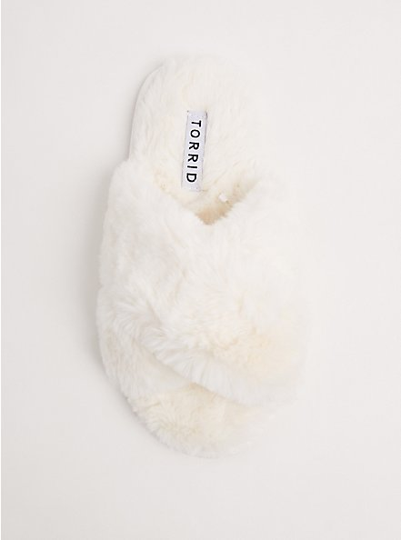 Ivory Faux Fur Slipper (WW), NATURAL, alternate
