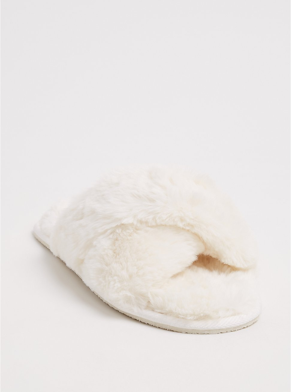 Ivory Faux Fur Slipper (WW), NATURAL, hi-res