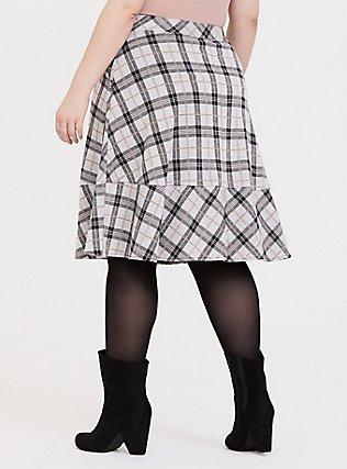 Multi Plaid Double-Knit Midi Skirt, , alternate