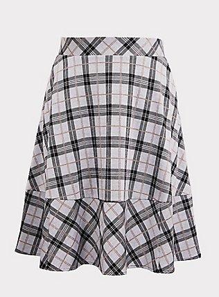 Multi Plaid Double-Knit Midi Skirt, , flat