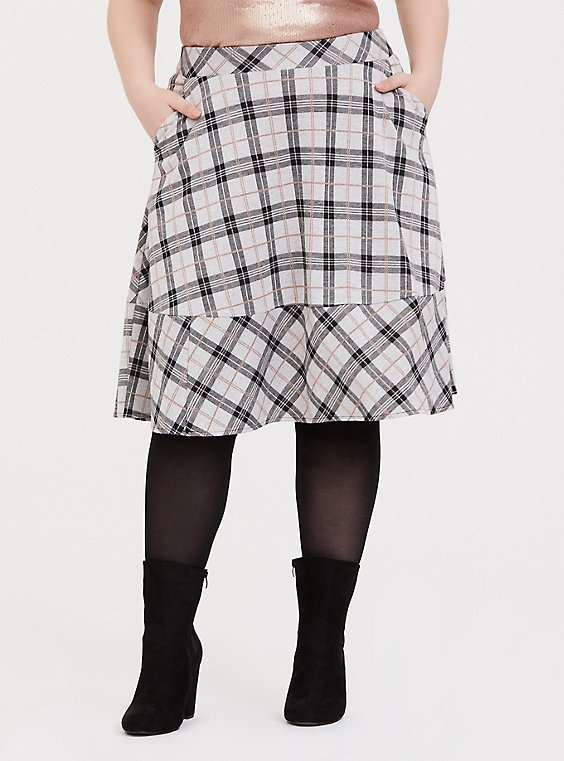 Multi Plaid Double-Knit Midi Skirt, , hi-res