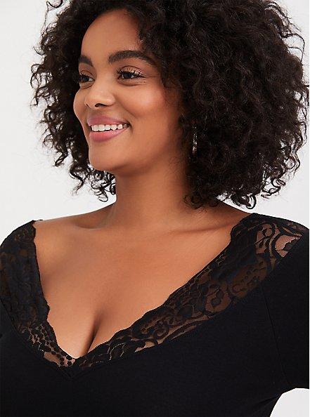 Black Lace V-Neck Foxy Tee, DEEP BLACK, alternate