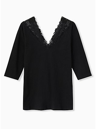 Black Lace V-Neck Foxy Tee, DEEP BLACK, flat