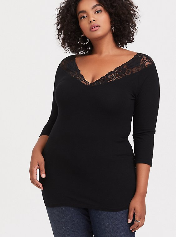 Plus Size Black Lace V-Neck Foxy Tee, , hi-res