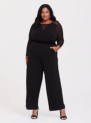 Black Studio Knit Wide Leg Jumpsuit, DEEP BLACK, hi-res