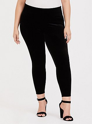 Plus Size Velvet Pull-On Pixie Pant - Black, DEEP BLACK, hi-res