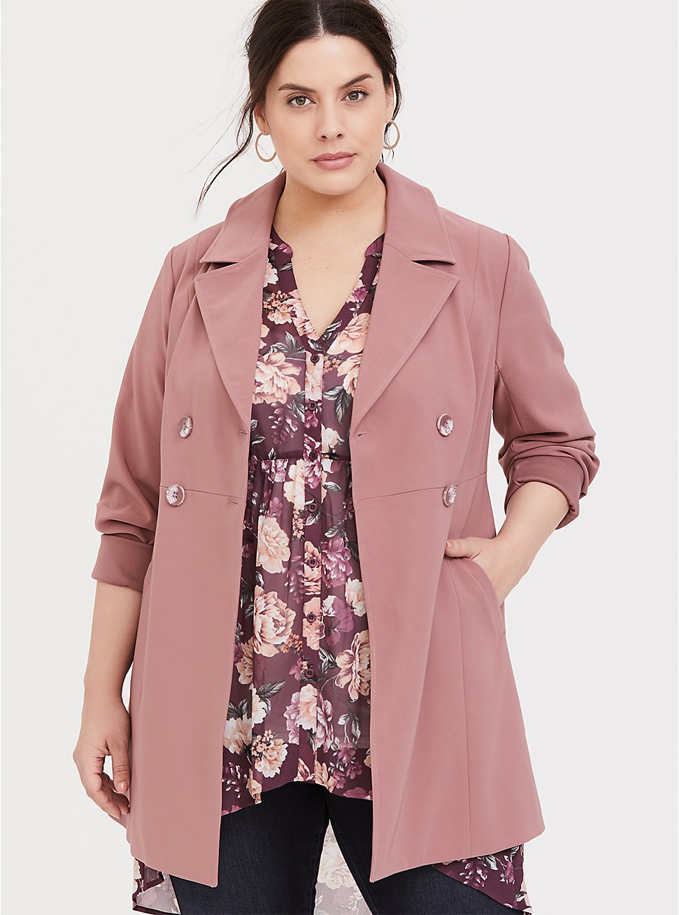 Walnut Twill Double-Breasted Fit & Flare Coat, WALNUT, hi-res