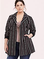 Black Stripe Crepe Double-Breasted Blazer, STRIPES, alternate