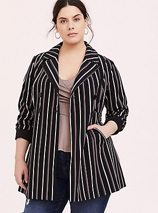 Black Stripe Crepe Double-Breasted Blazer, STRIPES, alternate