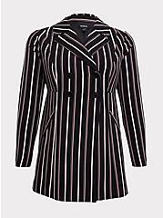 Black Stripe Crepe Double-Breasted Blazer, STRIPES, hi-res