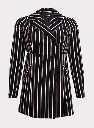 Black Stripe Crepe Double-Breasted Blazer, STRIPES, flat
