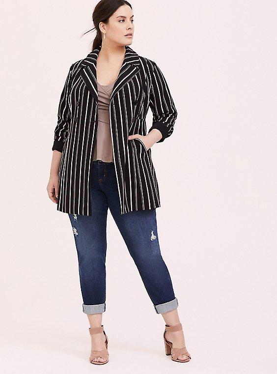 Black Stripe Crepe Double-Breasted Blazer, , hi-res