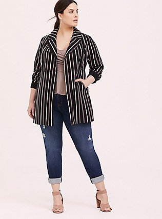 Black Stripe Crepe Double-Breasted Blazer, STRIPES, hi-res
