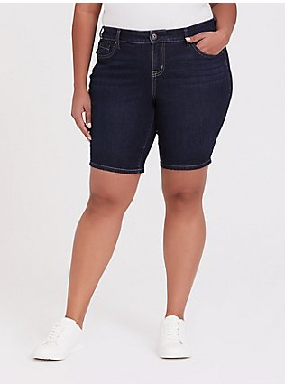 Boyfriend Bermuda Short - Vintage Stretch Dark Wash, MOONLIT, hi-res