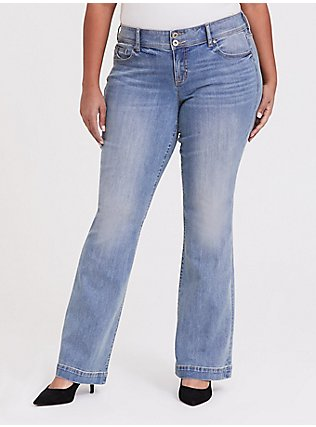 Flare Jean - Vintage Stretch Light Wash, POST UP, hi-res