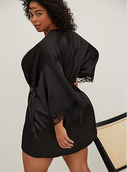 Black Satin & Lace Trim Self Tie Robe, RICH BLACK, alternate