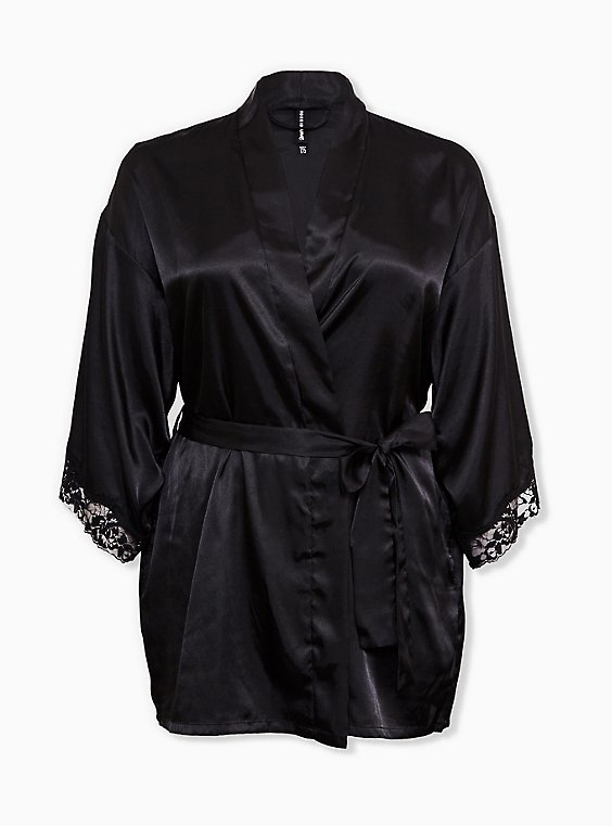 Black Satin & Lace Trim Self Tie Robe, RICH BLACK, ls