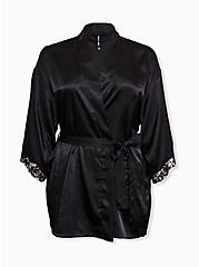 Black Satin & Lace Trim Self Tie Robe, RICH BLACK, hi-res