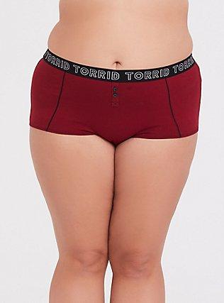 Torrid Logo Dark Red Cotton Boyshort Panty, BIKING RED, hi-res