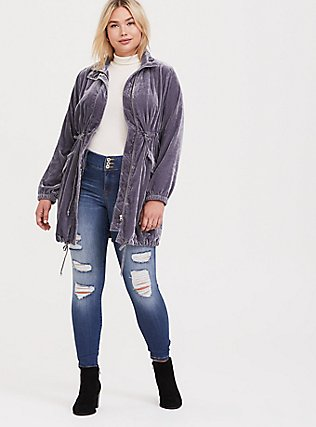 Slate Grey Velvet Longline Anorak, , alternate