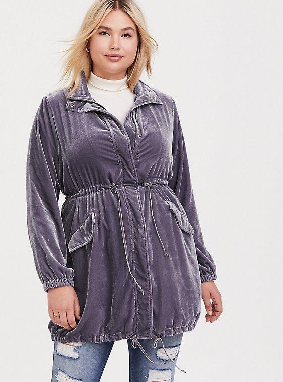 Plus Size Slate Grey Velvet Longline Anorak, , hi-res