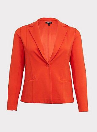 Orange Premium Ponte Blazer, TANGERINE TANGO, flat