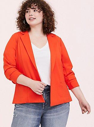 Orange Premium Ponte Blazer, TANGERINE TANGO, hi-res