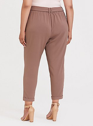Taupe Crepe Tie-Front Tapered Pant, DEEP TAUPE, alternate