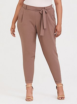 Taupe Crepe Tie-Front Tapered Pant, DEEP TAUPE, hi-res