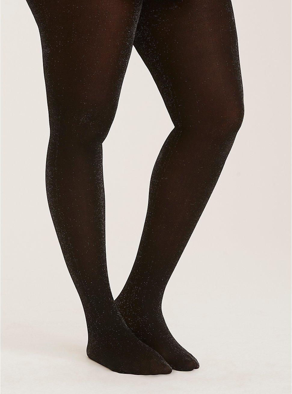 Plus Size Black Gold Shimmer Tights, BLACK, hi-res