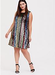 Rainbow Stripe Sequin Trapeze Dress, MULTI, alternate