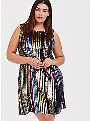 Rainbow Stripe Sequin Trapeze Dress, MULTI, hi-res