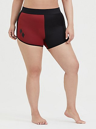 Plus Size DC Comics Harley Quinn Black & Red Swim Short, HARLEY DIAMONDS, hi-res
