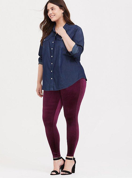 Burgundy Purple Velvet Legging, , hi-res