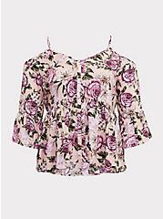 Light Pink Floral Wash & Wear Cold Shoulder Babydoll Blouse, MULTI, hi-res