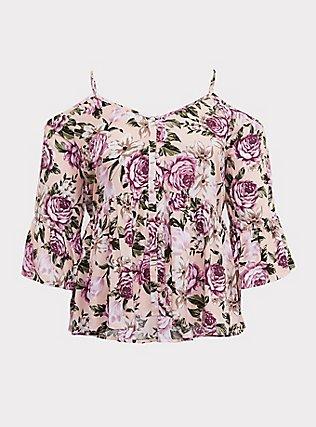 Light Pink Floral Wash & Wear Cold Shoulder Babydoll Blouse, MULTI, flat
