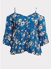 Blue Floral Cold Shoulder Babydoll Blouse, MULTI, hi-res
