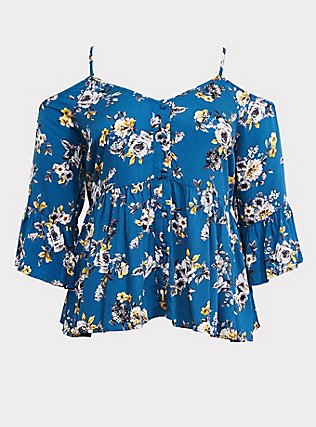Plus Size Blue Floral Cold Shoulder Babydoll Blouse, MULTI, flat