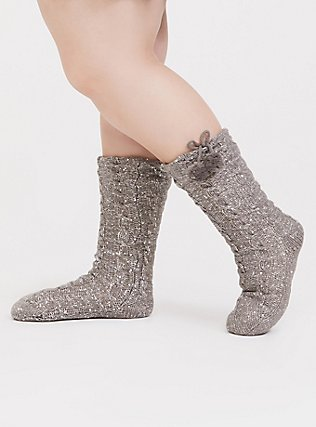 Plus Size Heathered Grey Knit Sequin Cozy Pom Pom Slipper Socks, GREY, hi-res