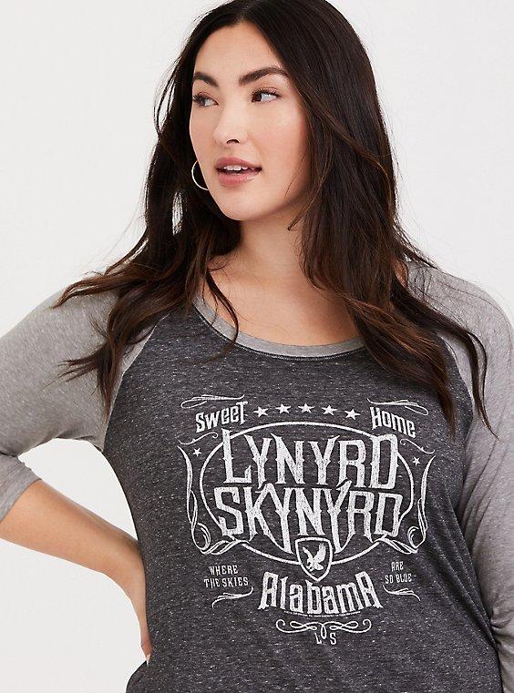Lynyrd Skynyrd Marled Black Classic Fit Raglan Tee, , hi-res