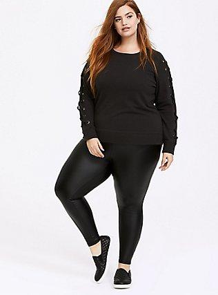Plus Size Vintage Black Lace-Up Sleeve Sweatshirt, VINTAGE BLACK, alternate
