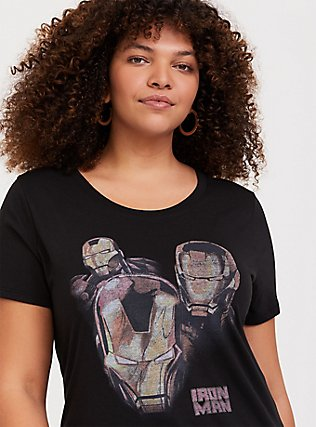 Plus Size Marvel Iron Man Black Slim Fit Crew Top, DEEP BLACK, hi-res