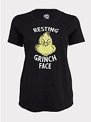 Dr. Seuss Resting Grinch Face Black Crew Tee, DEEP BLACK, hi-res
