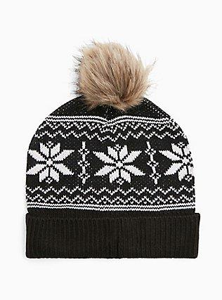Plus Size Black Fair Isle Fur Pom Pom Beanie, , hi-res
