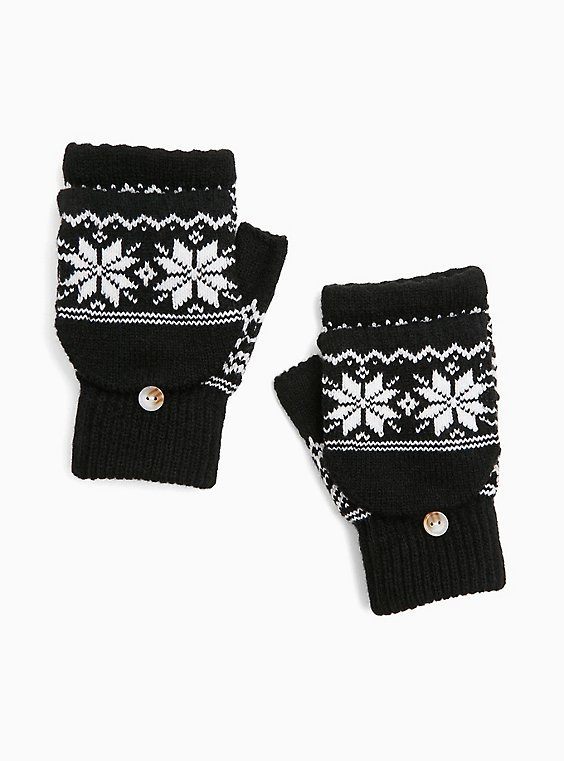 Black Fair Isle Convertible Fingerless Gloves, , hi-res