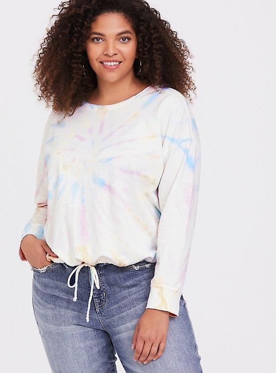 White Terry & Rainbow Tie-Dye Crop Sweatshirt, , hi-res
