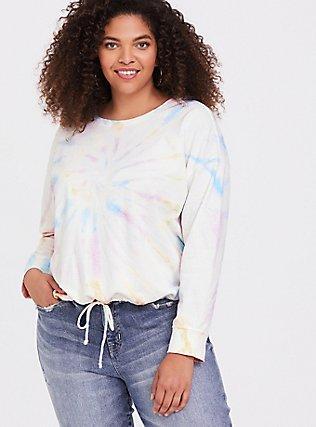 White Terry & Rainbow Tie-Dye Crop Sweatshirt, TIE DYE, hi-res