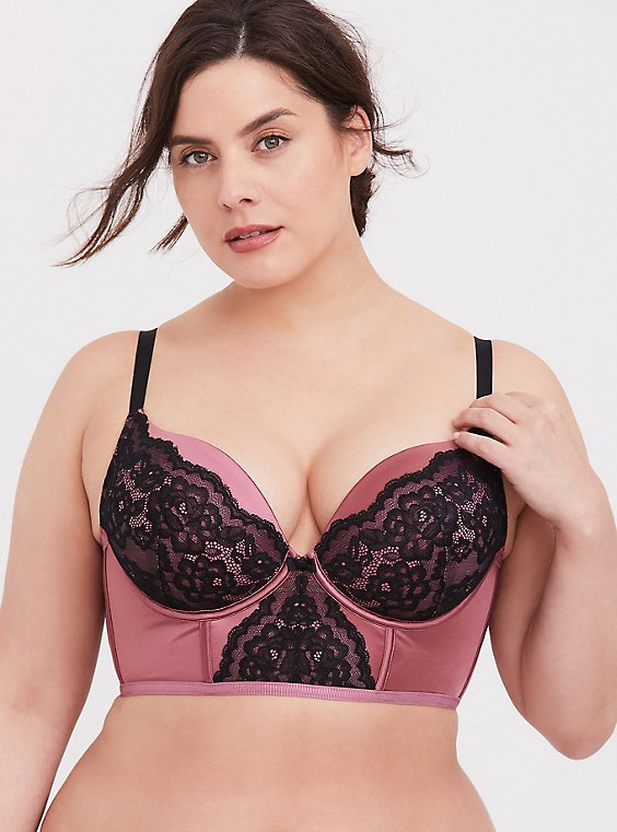 Plus Size Rose Pink Microfiber & Black Lace Push-Up Plunge Longline Bra, , hi-res